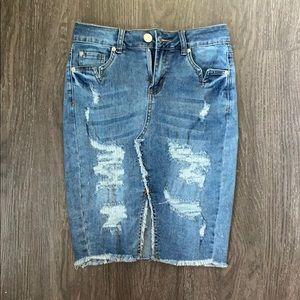 Boom boom jeans midi jean denim pencil skirt